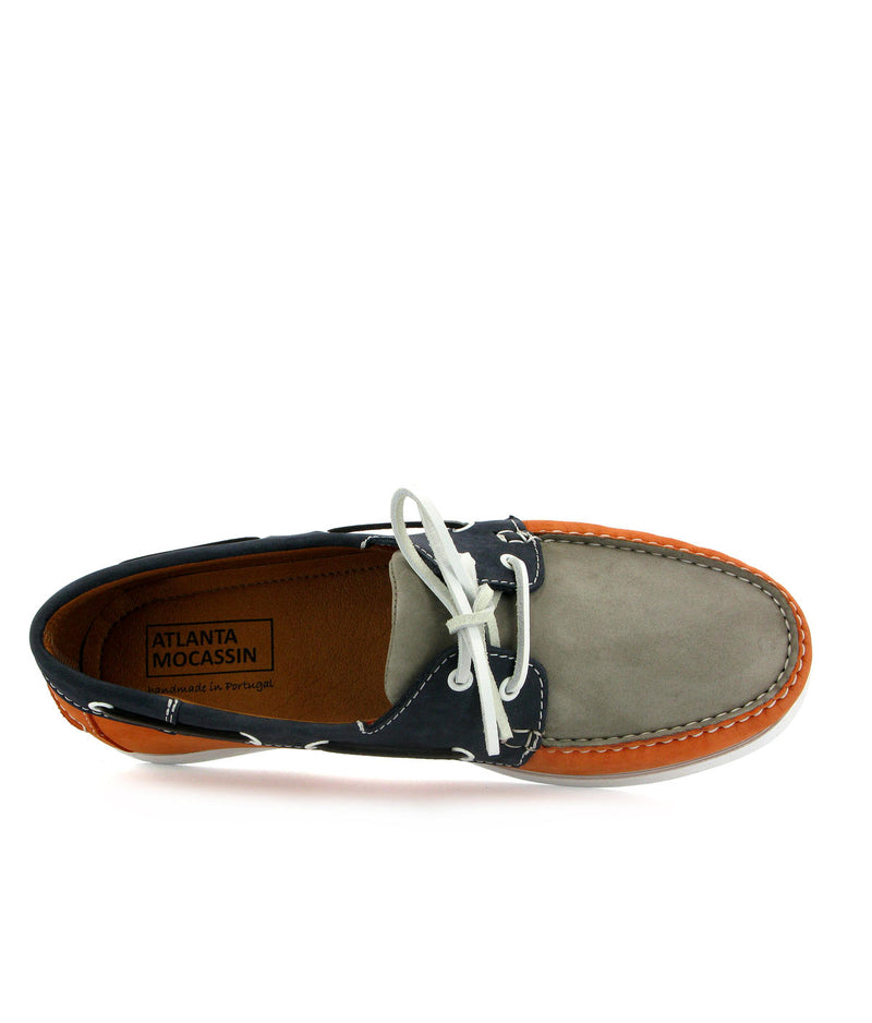 Orange Tricolor Boat Shoes in nubuck leather