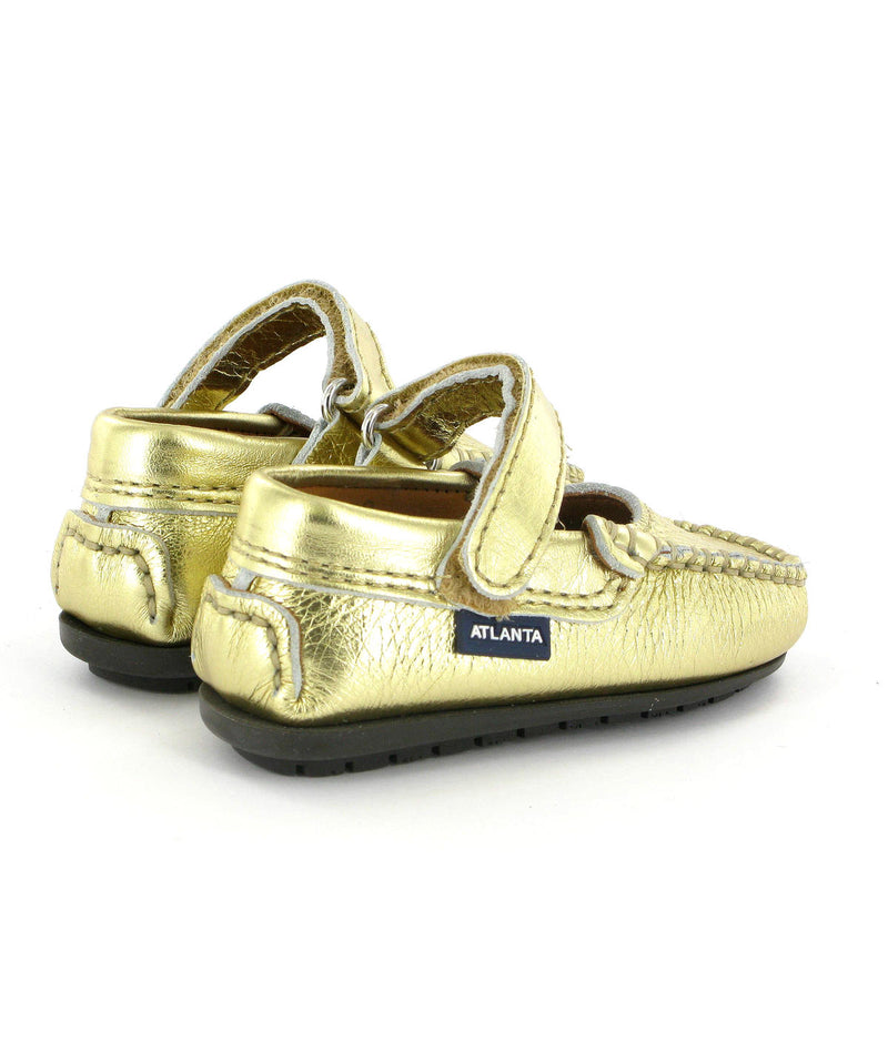 Mary Jane Moccasins in Metallic Leather