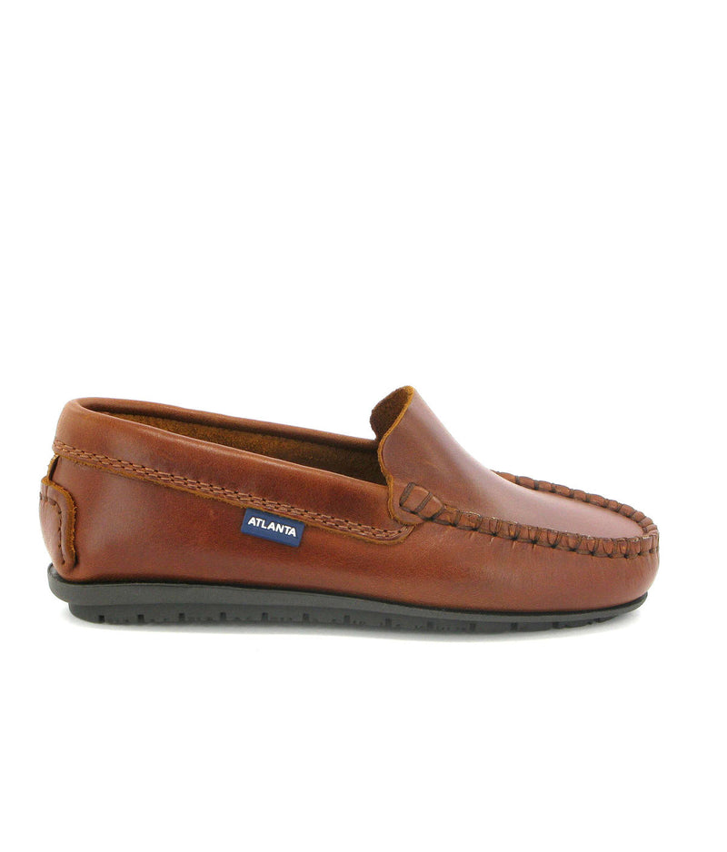 Plain Moccasins in Rustic Leather
