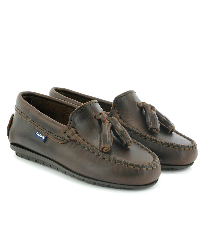 Tassel Moccasins in Rustic Leather