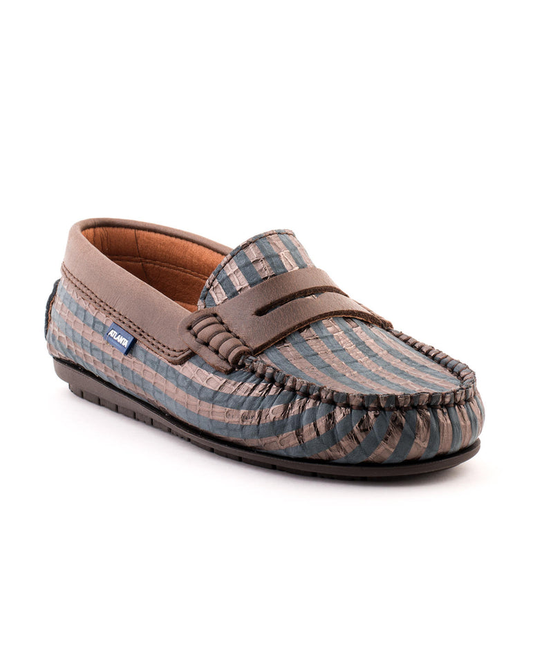 Penny Moccasins in Embossed Metallic Leather