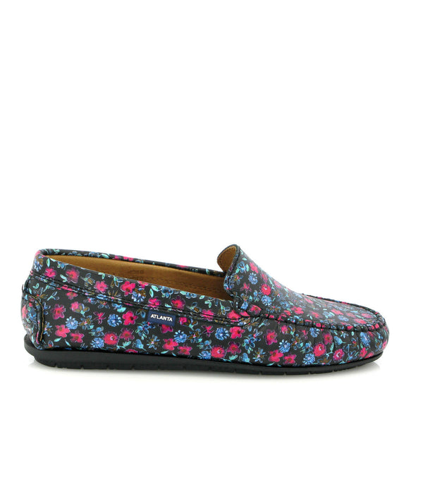 Spring Flowers Plain Moccasins in Leather