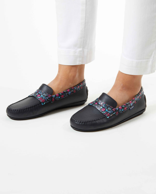 Spring Flowers Penny Moccasins in Leather