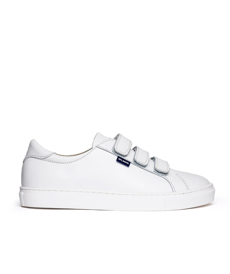 Three Straps Sneakers in Soft Shiny Leather