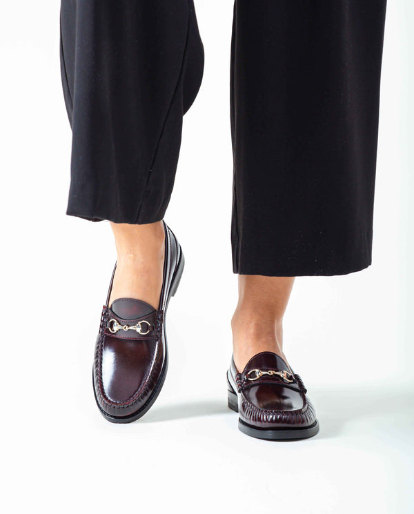 Sarah Buckle Loafers in shiny leather
