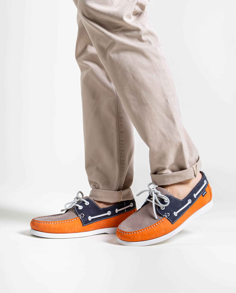 Tricolor Boat Shoes in nubuck leather