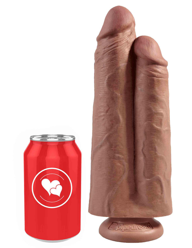 "King Cock 9"" Two Cocks One Hole - Tan-LoveBoxToys.com"
