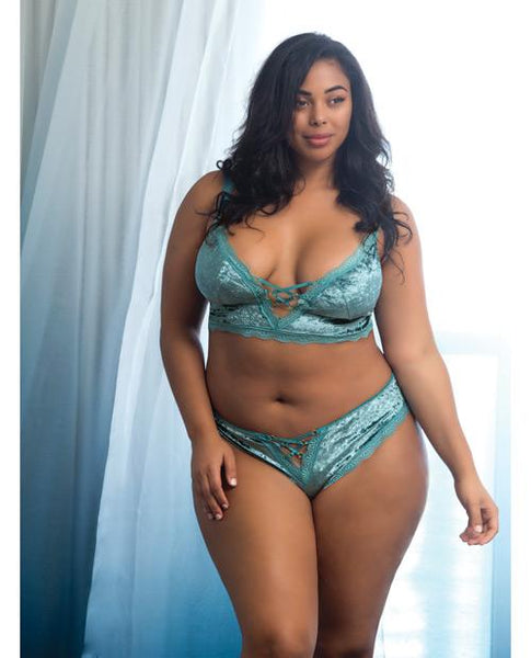 Amalie Crushed Velvet Bralette & Panty W-lace Up Detail Dusty Turquoise 3x-LoveBoxToys.com