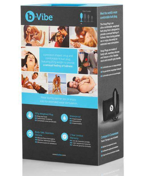B-vibe Snug Plug 4 - .257g Black-LoveBoxToys.com