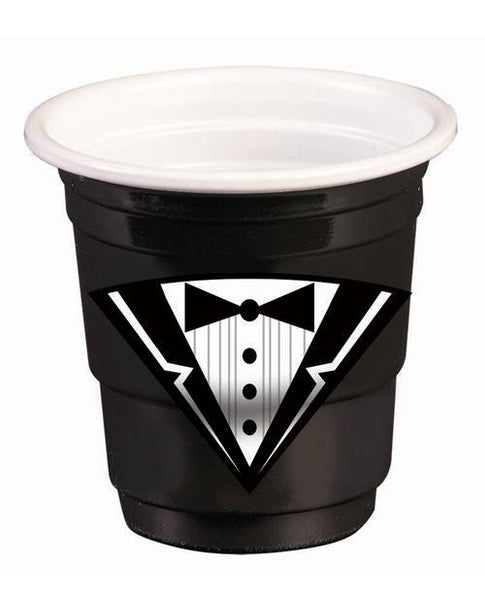 Bachelor Tuxedo Plastic Shot Glasses - Black Set Of 12-LoveBoxToys.com