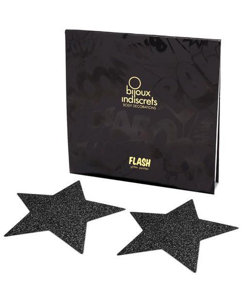 Bijoux Indiscrets Flash Star Pastie - Black-LoveBoxToys.com