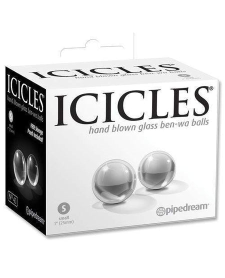 Icicles No. 5 Hand Blown Glass Massager - Clear W-blue Swirls