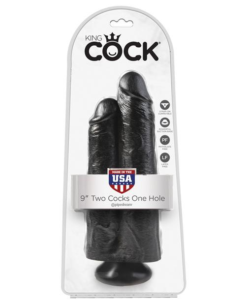 "King Cock 9"" Two Cocks One Hole - Black-LoveBoxToys.com"