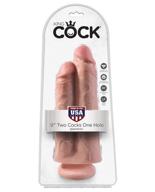 "King Cock 9"" Two Cocks One Hole - Flesh-LoveBoxToys.com"