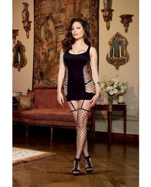Opaque & Fence Net Garter Dress W-attached Thigh High Stockings Black Qn-LoveBoxToys.com