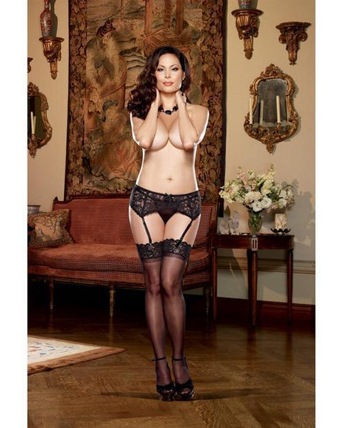 Stretch Lace Garter Belt W-scalloped Hem Black Qn-LoveBoxToys.com
