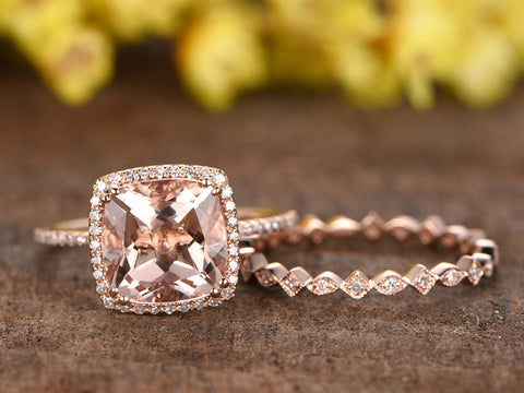 3ct cushion cut morganite engagement ring set, 2pcs bridal ring set, 14k rose gold