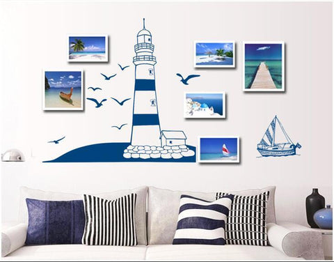 Blue Lighthouse Wall Stickers