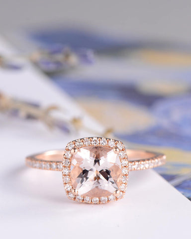 Morganite Engagement Ring Rose Gold Wedding Women Bridal Set Pink Birthday Diamond Cushion Cut Halo Anniversary Gifts For Her Graduation