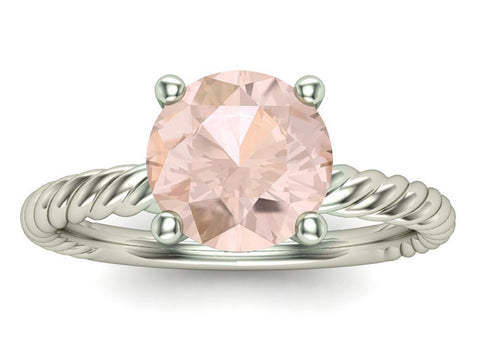 Morganite Engagement Ring on Twisted 18K White Gold Band, Solitaire, Promise Ring