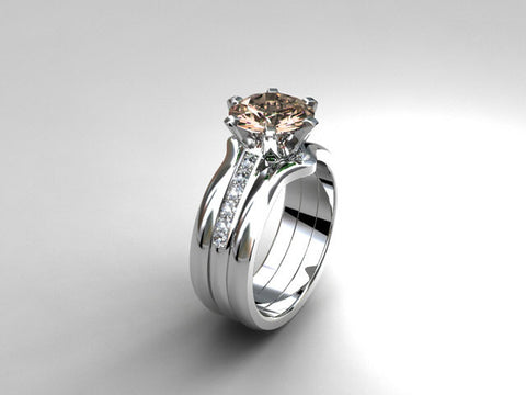Morganite engagement ring set, white gold