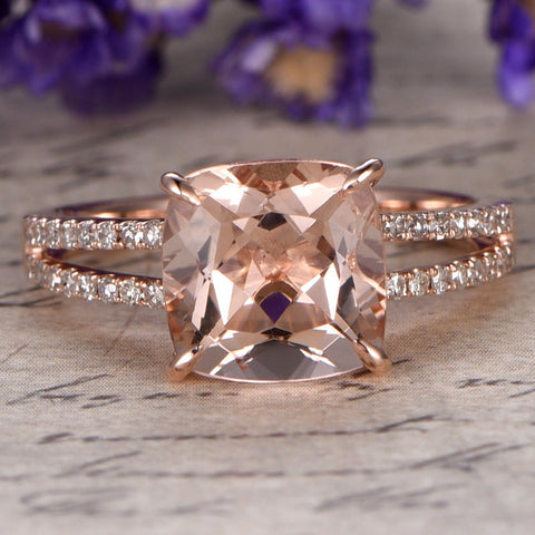 Morganite engagement ring with diamond Solid 14k Rose gold