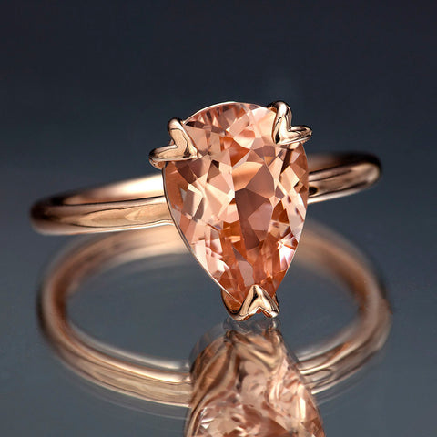 Peach Pink Morganite Rose Gold Ring, Pear Cut Tulip Morganite Engagement Ring in Solid Rose Gold