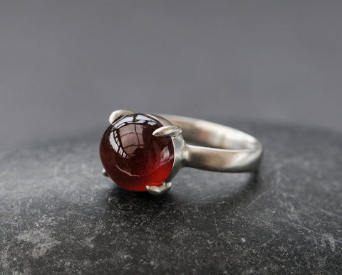 Red Hessonite Garnet Ring