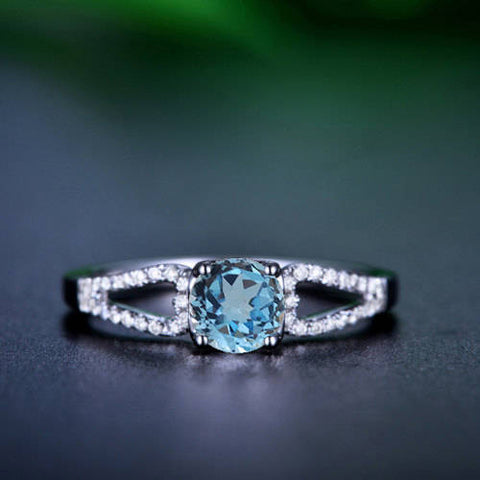 Split Band Round Cut Blue Topaz Engagement Ring 14k White Gold