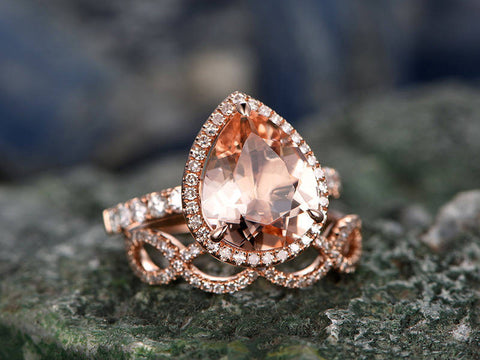 Tear Drop Morganite Engagement Ring Set Solid 14k Rose Gold