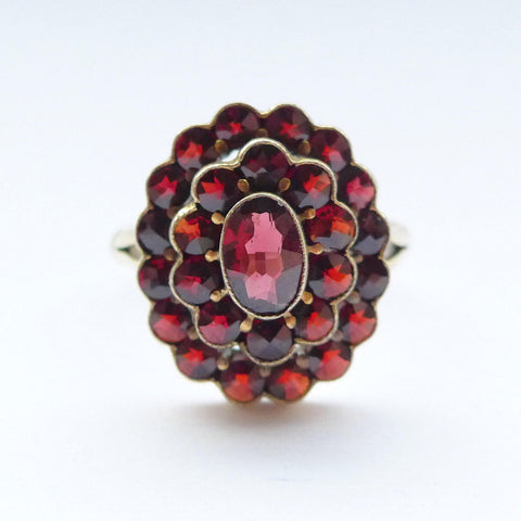 Vintage Bohemian Garnet Ring Vermeil on Sterling Silver
