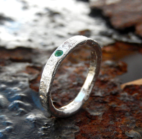 sterling silver emerald textured ring