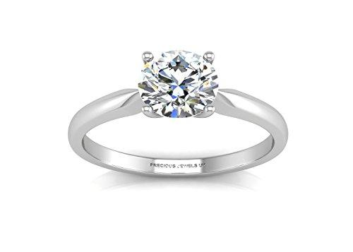 Precious Jewels UK - DIAMOND Solitaire Engagement Ring 0.20ct H VS 18ct White Gold - Certificate AGI