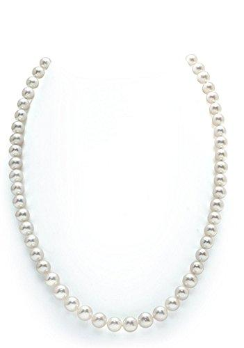14K Gold 7-8mm White Freshwater Cultured Pearl Necklace, 20 Inch Matinee Length
