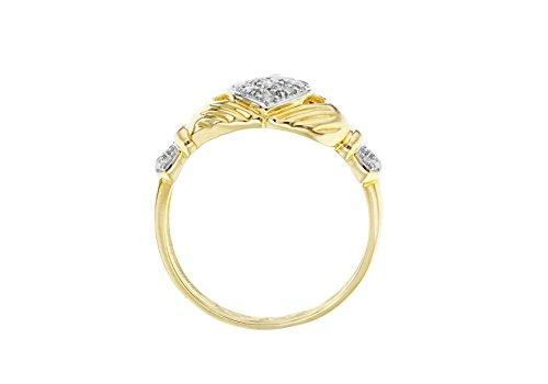 Carissima Gold 9ct Yellow Gold Diamond Claddagh Ring - Size N