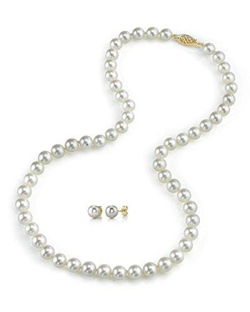6.5-7.0mm White Akoya Cultured Pearl Necklace & Matching Earrings Set, 18