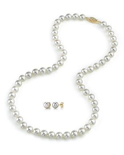 "6.5-7.0mm White Akoya Cultured Pearl Necklace & Matching Earrings Set, 18"" Princess Length - AA+ Quality"