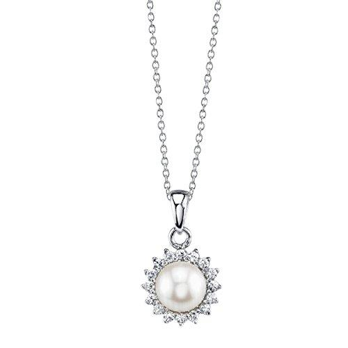 7mm White Freshwater Cultured Pearl & Crystal Ariela Pendant