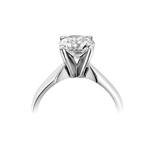 Abelini 1/2 Carat Certified I1/HI 100% Natural Round Diamond Solitaire Engagement Rings for Women In 18K White Gold