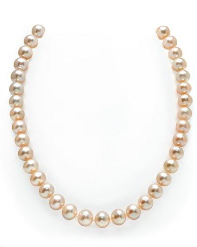 10-11mm Peach Freshwater Cultured Pearl Necklace-AAA, 18 Inch Princess Length