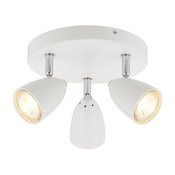 Modern 3 Light Triple Way LED Round Ceiling Spotlight Light / Lighting Fitting complete with 3.5 Watt Warm White LED Lamps