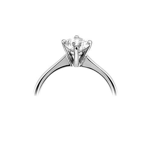 Abelini 1/10 Carat Certified I1/HI 100% Natural Round Solitaire Diamond Engagement Rings for Women In 9K White Gold
