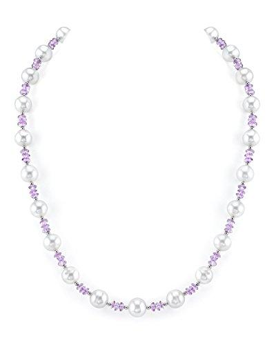 8mm White Freshwater Cultured Pearl & Amethyst Necklace