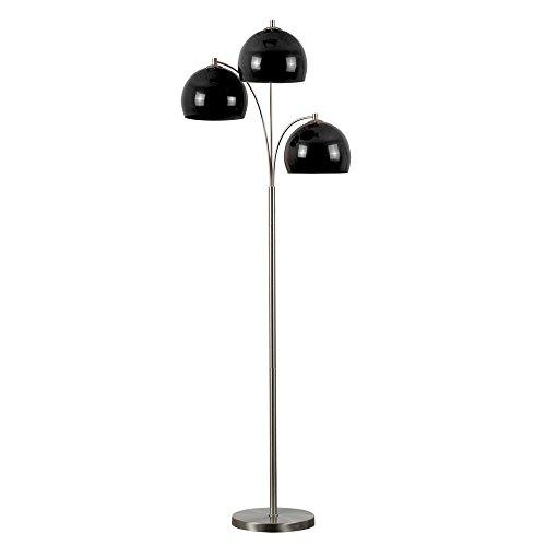 Modern Designer Style 3 Way Brushed Chrome Floor Lamp - Complete with Mini Arco Style Black Dome Shades