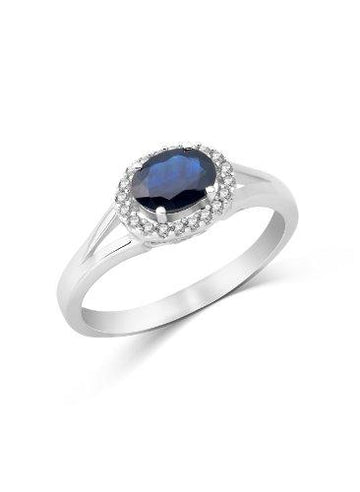 Miore Ladies 9ct White Gold Sapphire Diamond Ring - Size M