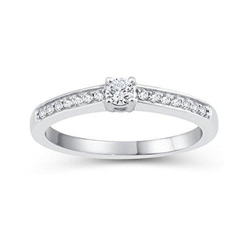 Perfect Love Diamond Collection Women's 18 ct White Gold Round Diamond Solitaire Ring with Diamond Shoulders, Certified Ideal Cut 0.25 ct