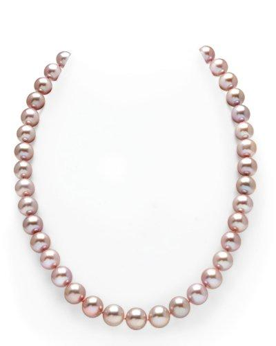 14K Gold 10-11mm Pink Freshwater Cultured Pearl Necklace, 18 Inch Princess Length