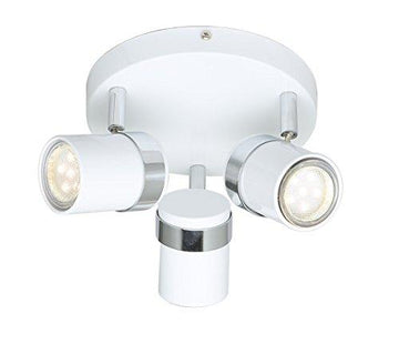Home Stylish Round 3 Way Ceiling Light GU10 Spotlight LED Compatible (White)