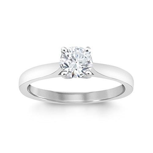 Perfect Love Diamond Collection Women's 18 ct White Gold Round Solitaire Diamond Engagement Ring, Certified Ideal Cut 0.5 ct