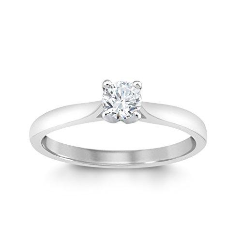 Perfect Love Diamond Collection Women's 18 ct White Gold Round Solitaire Diamond Engagement Ring, Certified Ideal Cut 0.25 ct